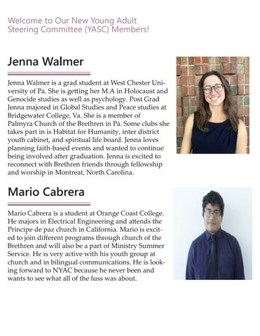 Page 2 of Welcome to Our New Young Adult Steering Committee (YASC) Members!