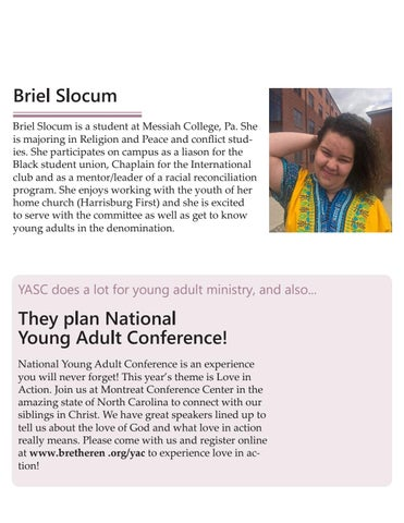 Page 3 of Welcome to Our New Young Adult Steering Committee (YASC) Members!