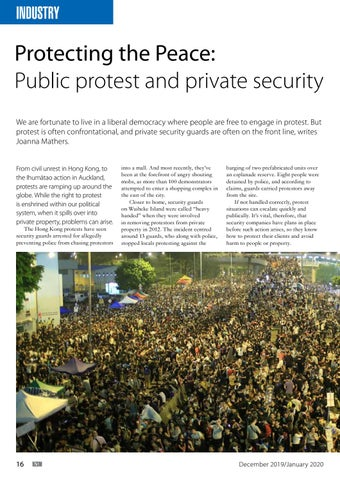 Page 16 of Protecting the Peace: Public protest and private security