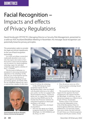 Page 24 of Facial Recognition – Impacts and effects of Privacy Regulations