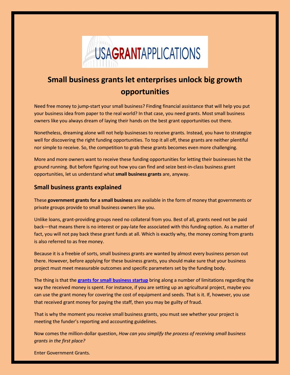 free government grants for small business