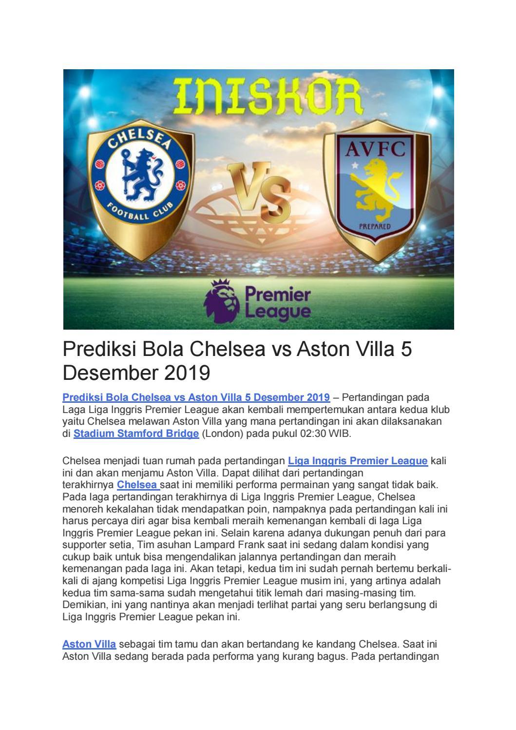 Prediksi Bola Chelsea Vs Aston Villa 5 Desember 2019 By
