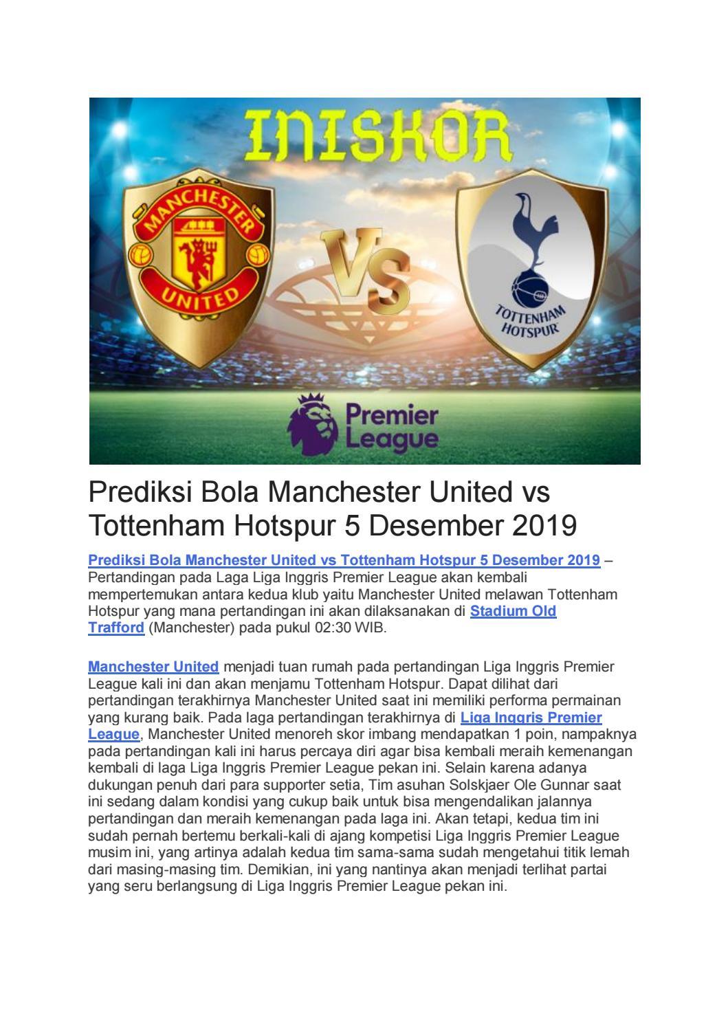 Prediksi Bola Manchester United Vs Tottenham Hotspur 5