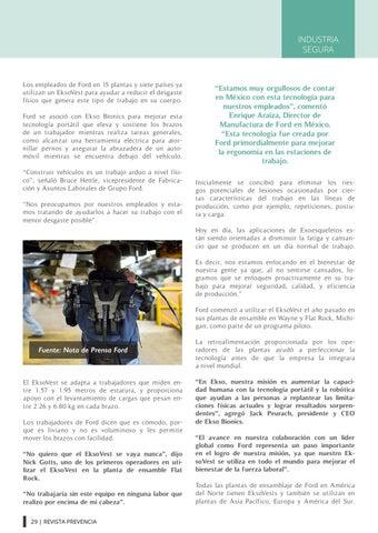 Page 29 of Ford integra Exoesqueleto para reducir lesiones entre sus trabajadores