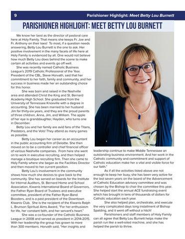 Page 10 of 9 Parishioner Highlight: Meet Betty Lou Burnett Parishioner Highlight : Meet Betty Lou Burnett