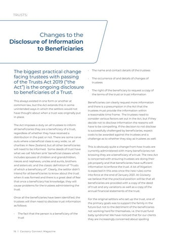 Page 16 of Changes to the Disclosure of Information to Beneficiaries