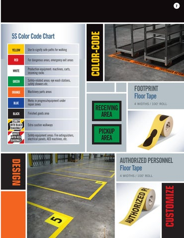 Page 7 of Mighty Line Custom Floor Tape and Custom Floor Signs -  5s Floor Tape Color Recommendations