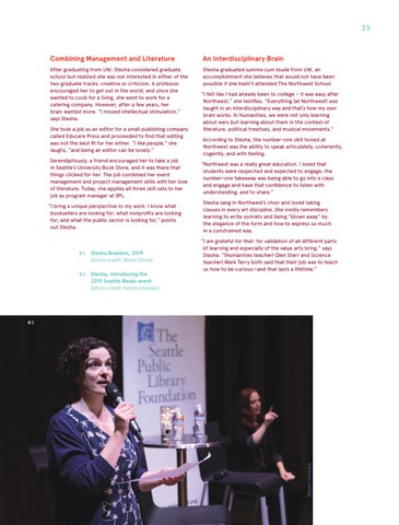 Page 25 of Stesha Brandon '91 Literature and Humanities Program Manager, The Seattle Public Library