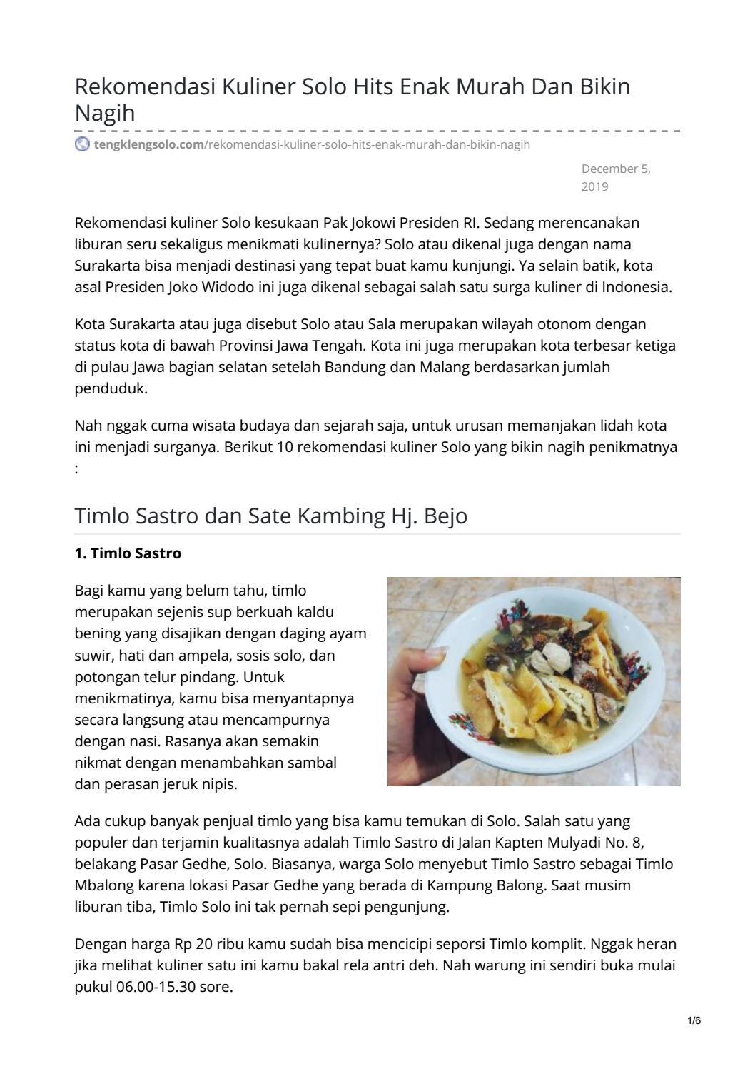 Rekomendasi Kuliner Solo Hits Enak Murah Dan Bikin Nagih By Batik