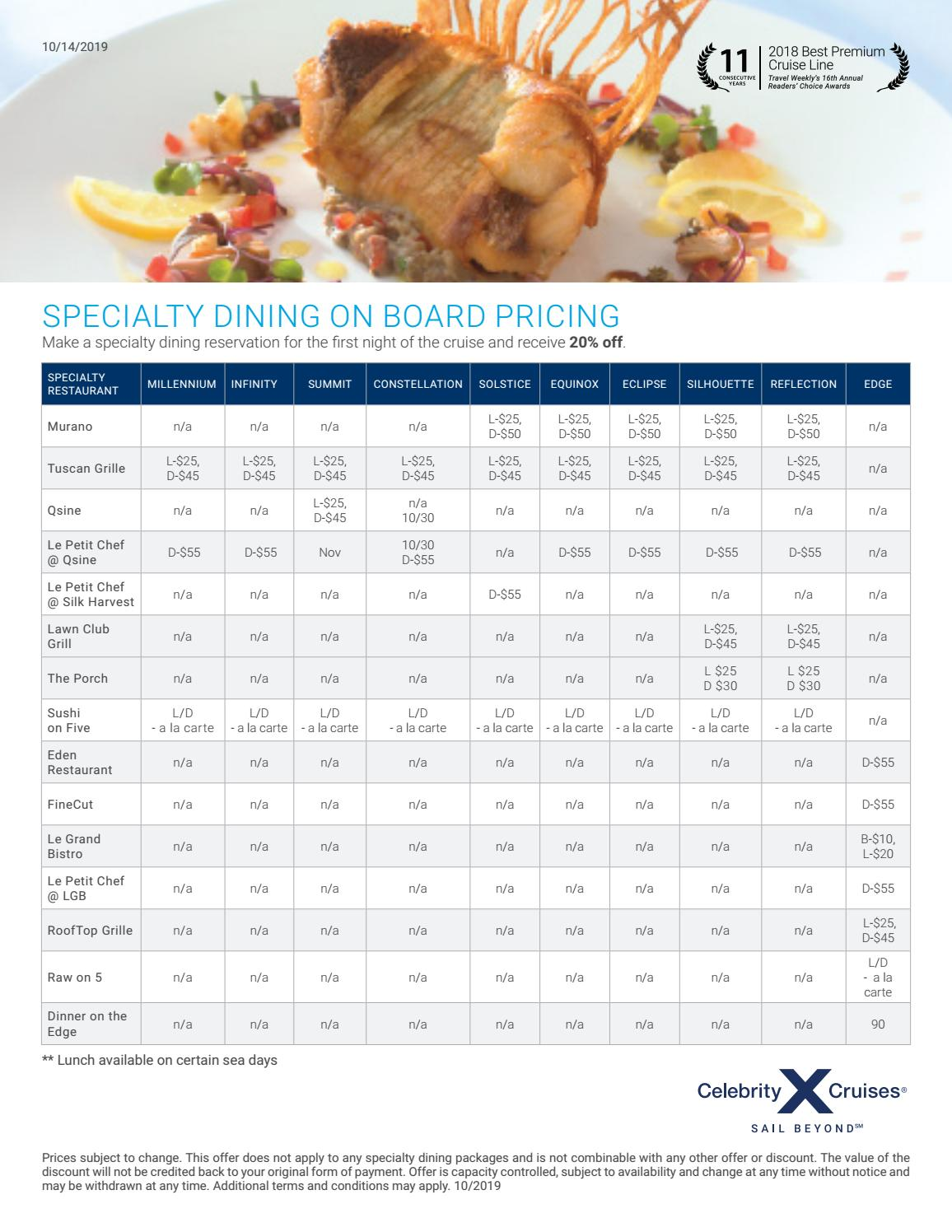 Celebrity Cruises Specialty Dining Pricing By Cia Marítima Issuu
