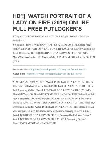Hd Watch Portrait Of A Lady On Fire 2019 Online Full Free Putlocker S By Movie Free Hd Issuu