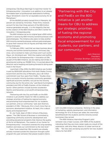 Page 21 of  Christian Brothers University 800 initiative partnership empowers minority entrepreneurs