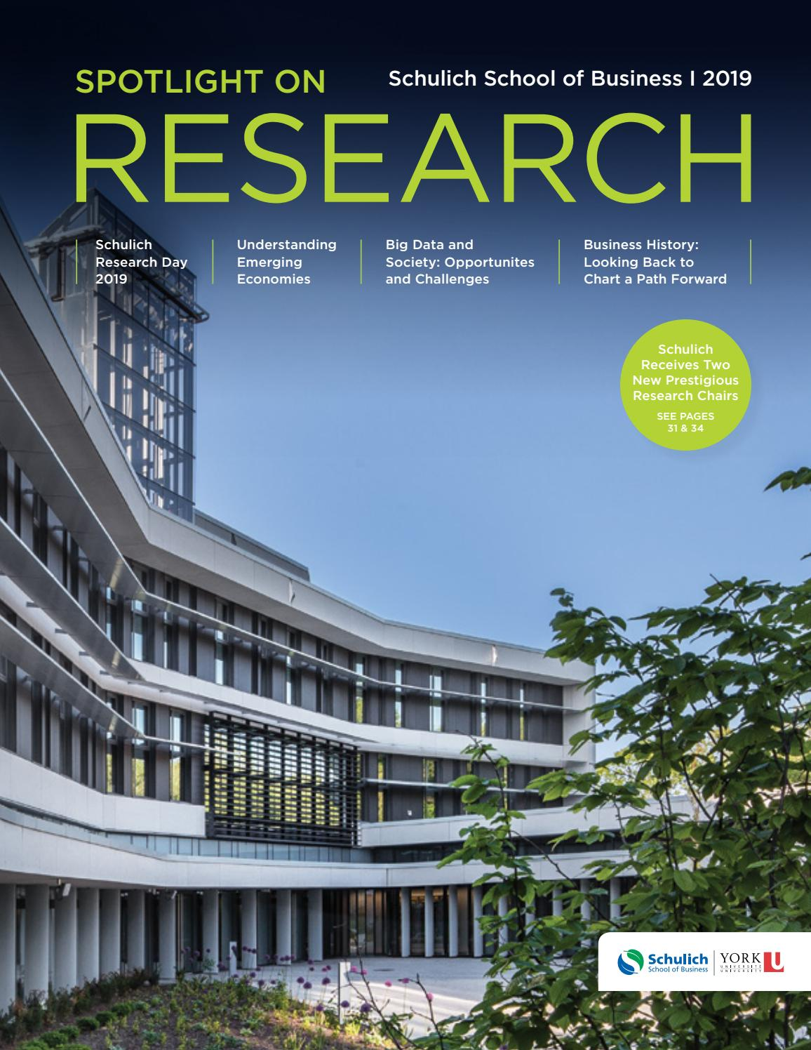 2019 Spotlight On Research By Schulich School Of Business Issuu