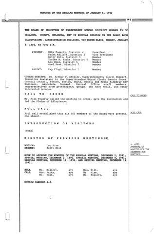 Oklahoma City Public Schools Board Meeting Minutes 1992 By Metropolitan Library System Oklahoma Issuu