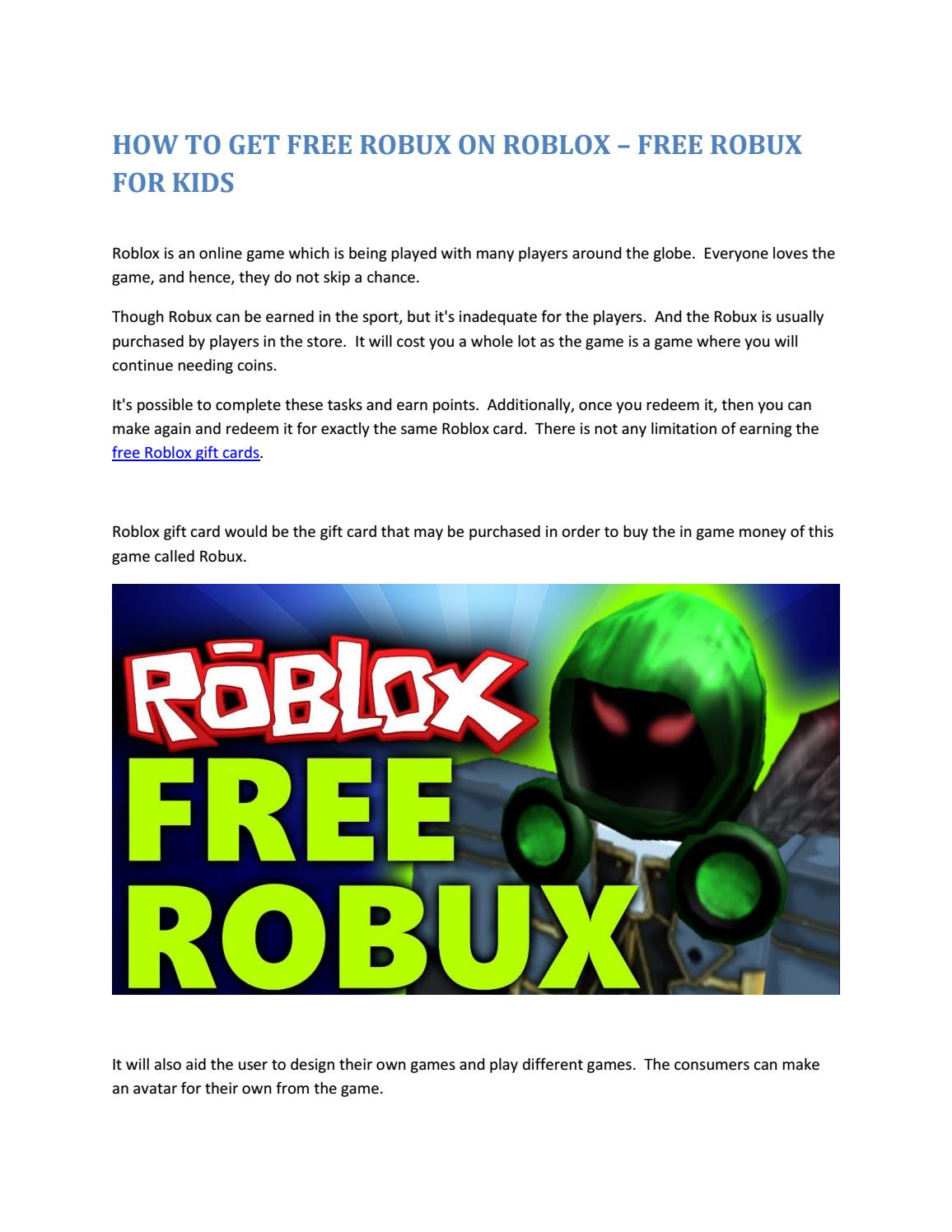 Earn Free Robux No Human Verification Need Some Free Robux For Kids Check Out This New Robux Generator By Free Robux For Kids Issuu