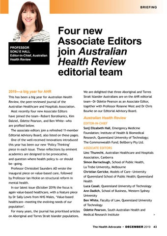 Page 43 of Four new Associate Editors join Australian Health Review editorial team