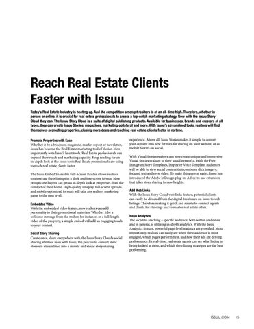 Page 15 of Reach Real Estate Clients Faster with Issuu