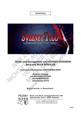 Sweeney Todd Textbuch ü Hinzesteiner By Musik Und Bühne