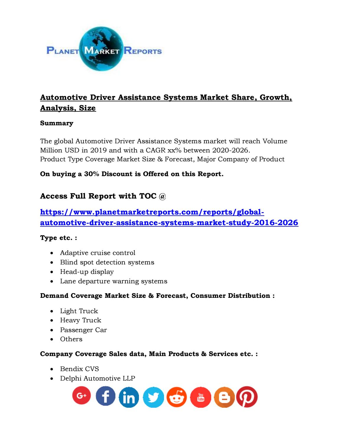 Automotive Driver Assistance Systems Market Share Growth Analysis Size By Planet Market Reports Issuu