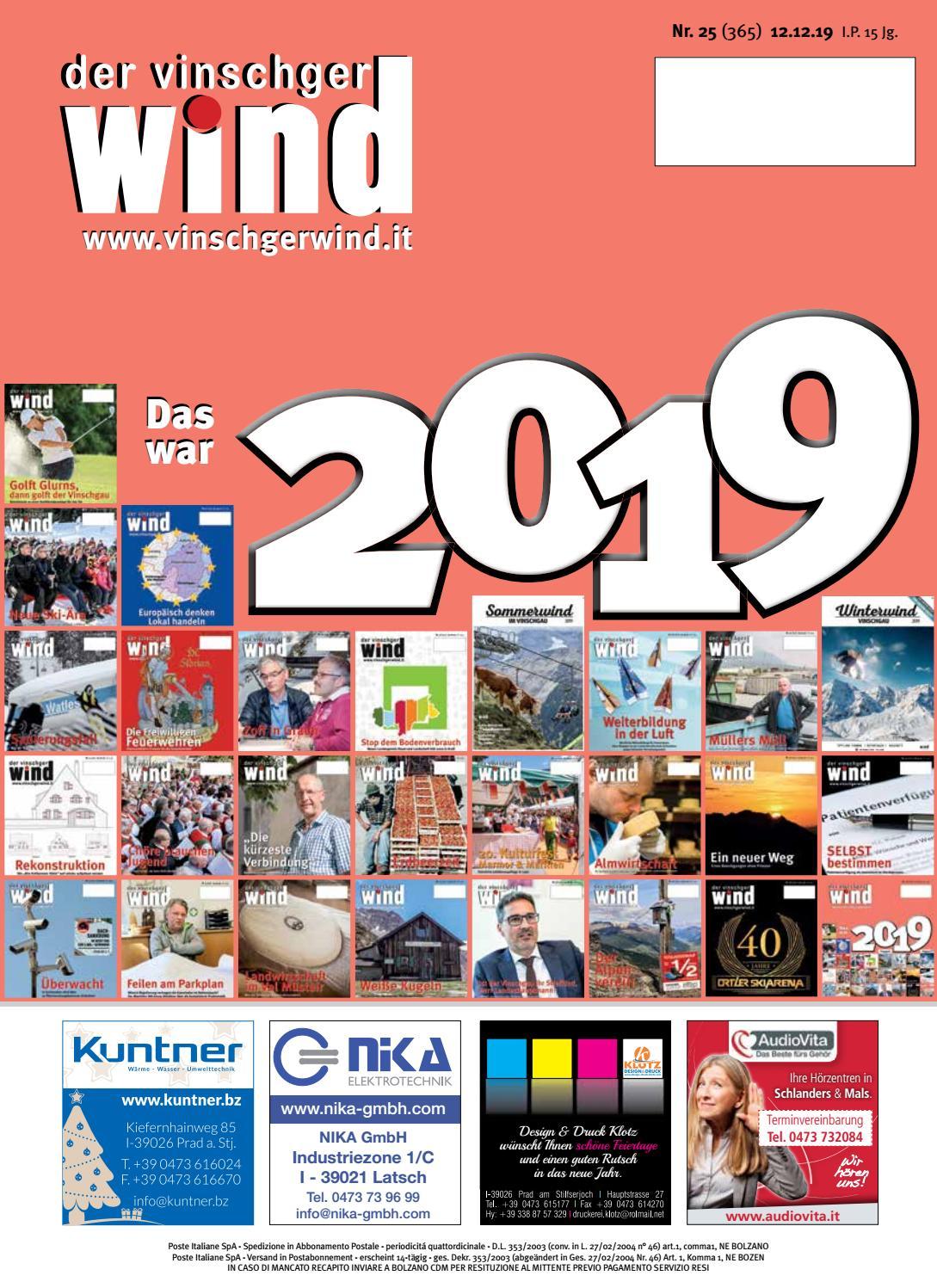 Zeitung Vinschgerwind 25 19 Vom 12122019 Bezirk Vinschgau