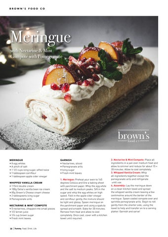 Page 30 of Meringue with Nectarine & Mint Compote with Pomegranate with Brown's Food Co
