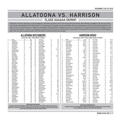 Page 11 of Class AAAAAA Allatoona vs. Harrison Friday, December 13 | 8:00 PM