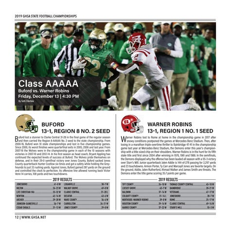Page 12 of Class AAAAA Buford vs. Warner Robins Friday, December 13 | 4:30 PM