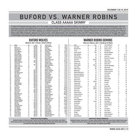 Page 13 of Class AAAAA Buford vs. Warner Robins Friday, December 13 | 4:30 PM