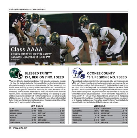Page 16 of Class AAAA Blessed Trinity vs. Oconee County Saturday, December 14 | 4:30 PM