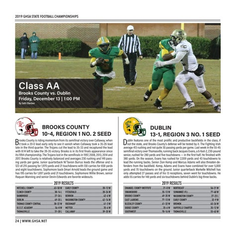 Page 24 of  Class AA Brooks County vs. Dublin Friday, December 13 | 1:00 PM