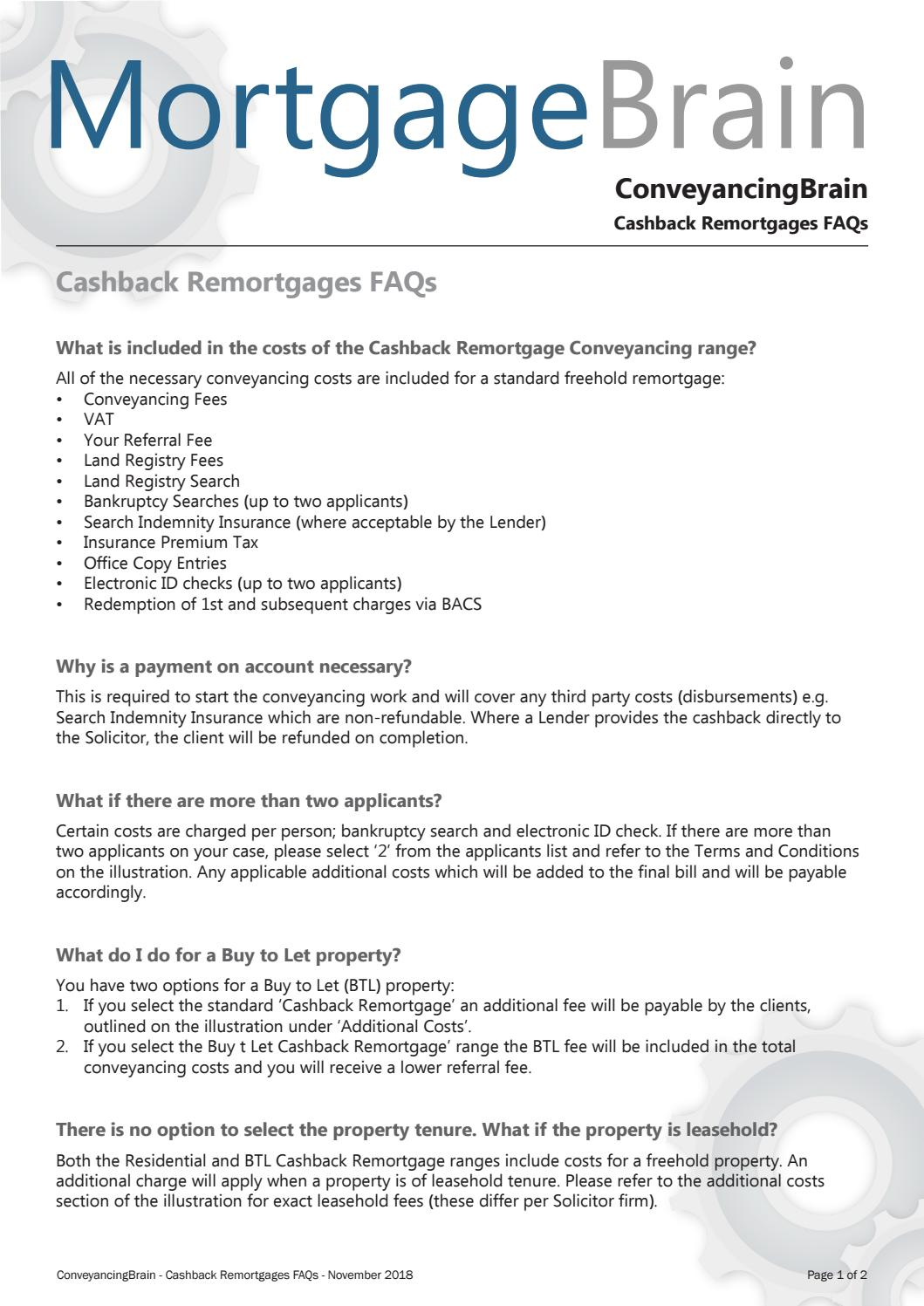 ConveyancingBrain - Cashback Remortgages FAQs by Mortgage ...