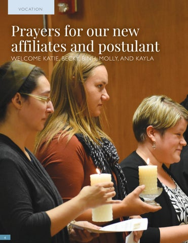 Page 4 of Prayers for our new affiliates and postulant WELCOME KATIE, BECKY, BINH, MOLLY, AND KAYLA