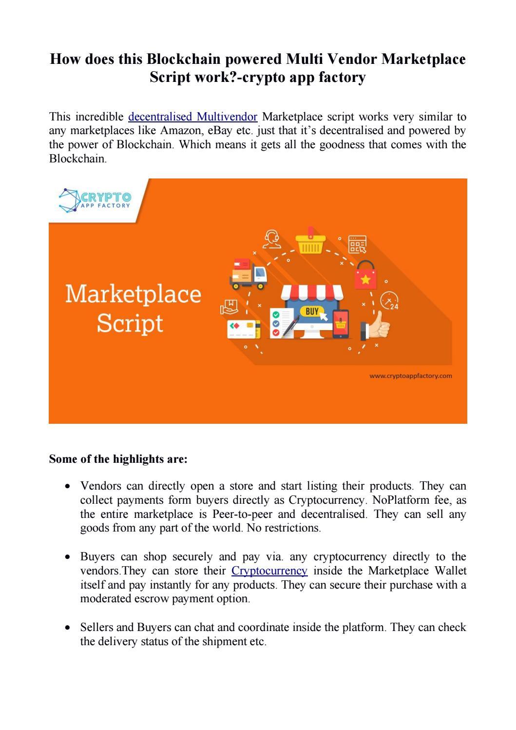 multi vendor marketplace bitcoin