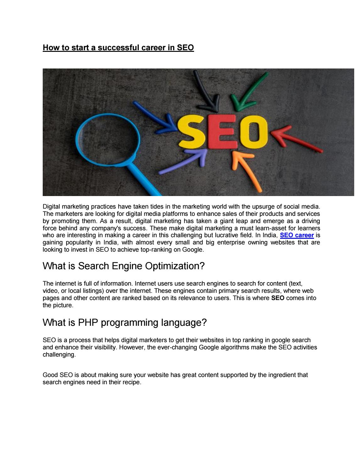 How to start a successful career in SEO by traininglobeinstitutes - issuu