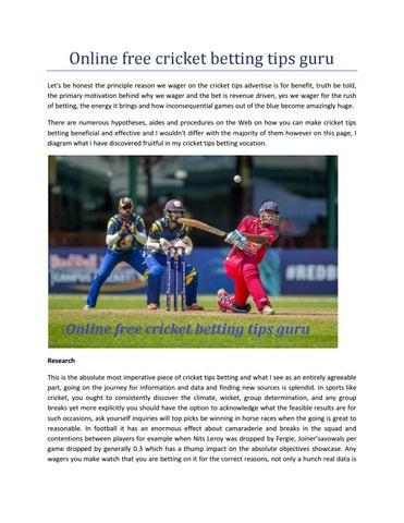 Cricket betting tips online free kro ncrv vara crypto currency