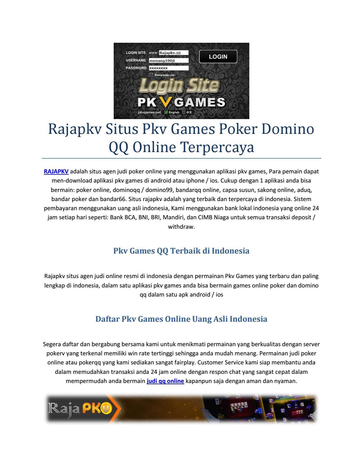 Rajapkv Situs Pkv Games Poker Domino Qq Online Terpercaya By Rajapkv Games Issuu