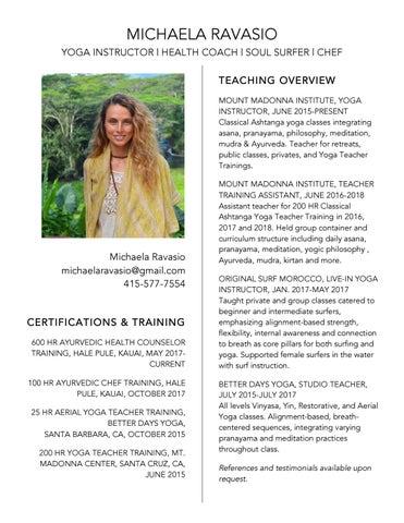 Michaela Ravasio Yoga Instructor Resume By Michaela Ravasio Issuu