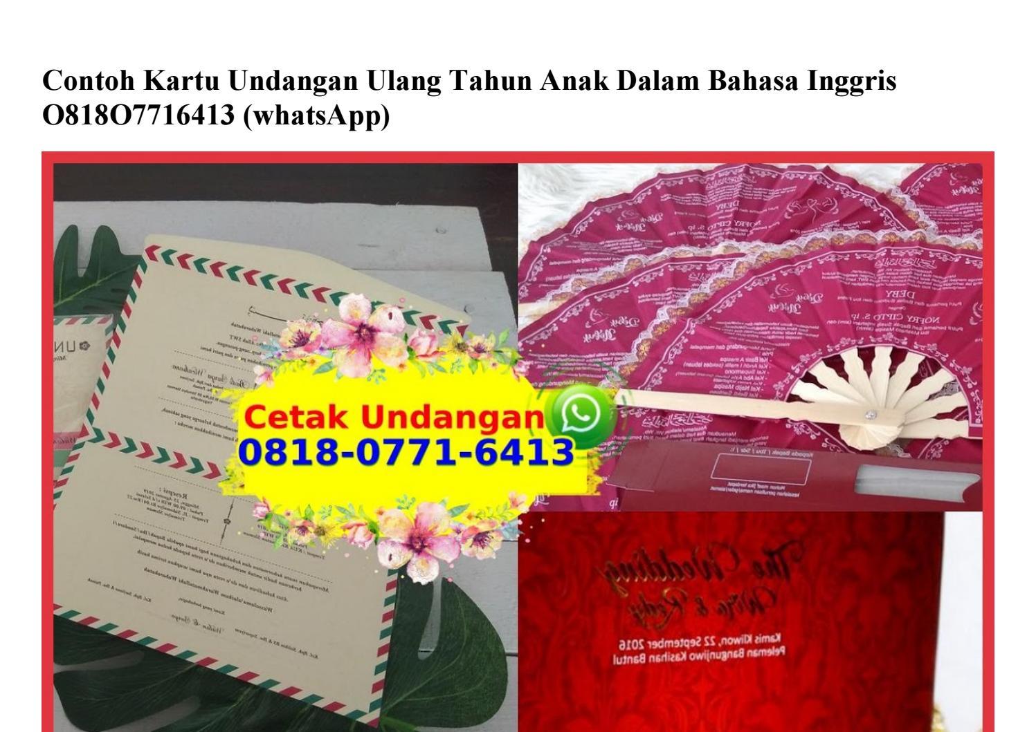 Contoh Kartu Undangan Ulang Tahun Anak Dalam Bahasa Inggris 0818 0771 6413 Wa By Vendor Jualharga Issuu