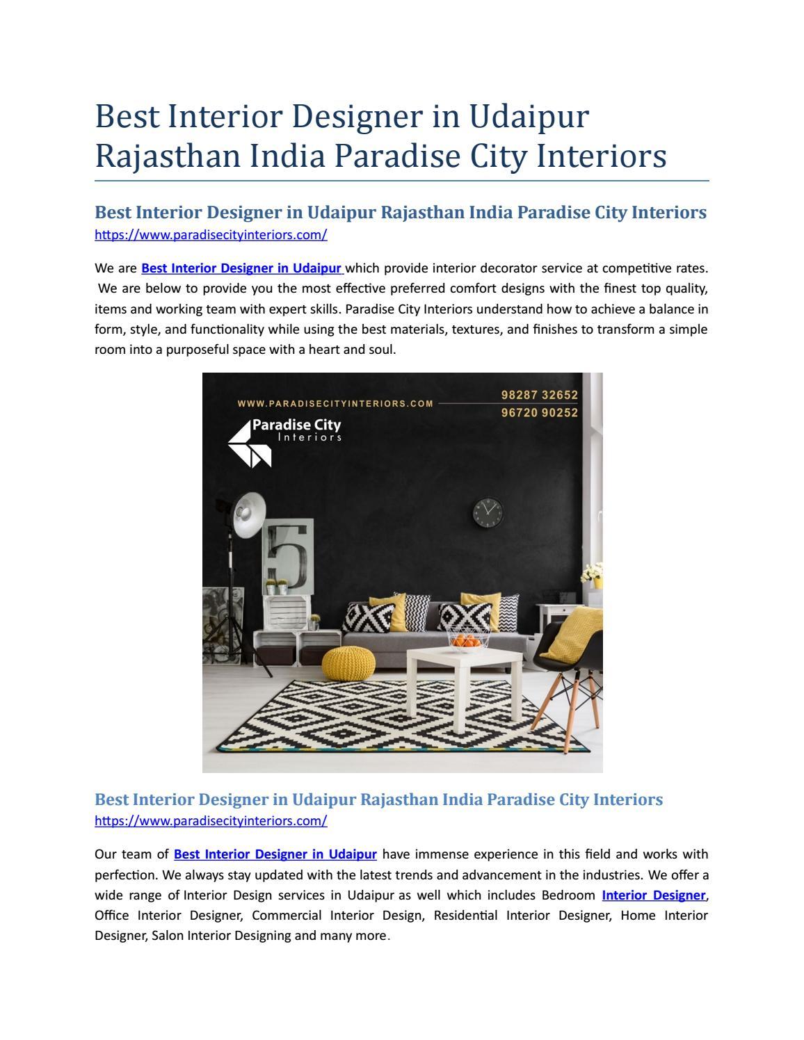 Best Interior Designer In Udaipur Rajasthan India Paradise City Interiors By Anjali Matrix11 Issuu