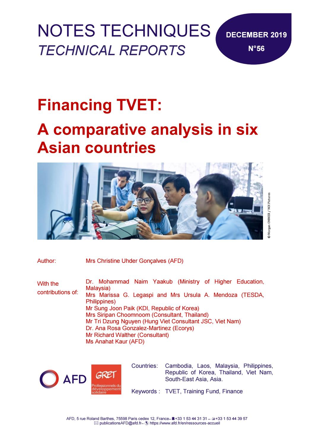 Financing Tvet A Comparative Analysis In Six Asian Countries By