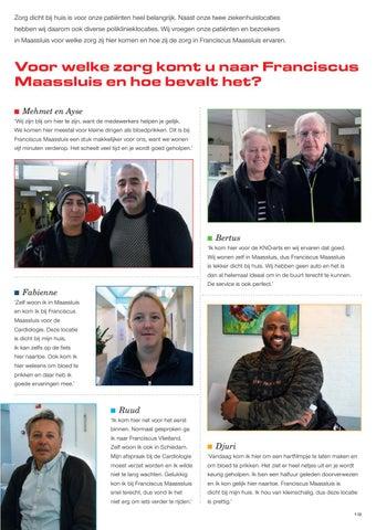 Page 21 of Voor welke zorg komt u naar Franciscus Maassluis en hoe bevalt het?