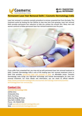 Permanent Laser Hair Removal Delhi Cosmetic Dermatology India By