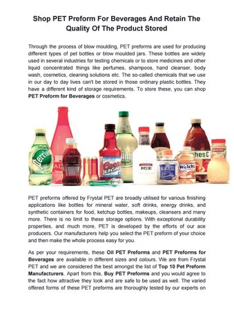 Shop Pet Preform For Beverages And Retain The Quality Of The Product Stored By Frystalpet Com Issuu