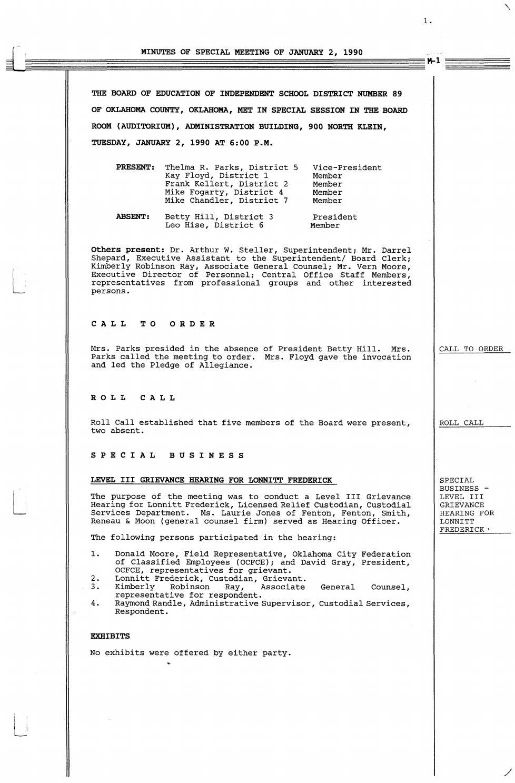 Oklahoma City Public Schools Board Meeting Minutes 1990 By Metropolitan Library System Oklahoma Issuu