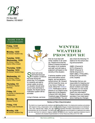 Page 8 of USD 458 Winter Weather Procedure