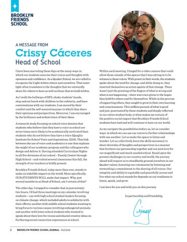 Page 4 of A Message From Crissy Cáceres, Head of School