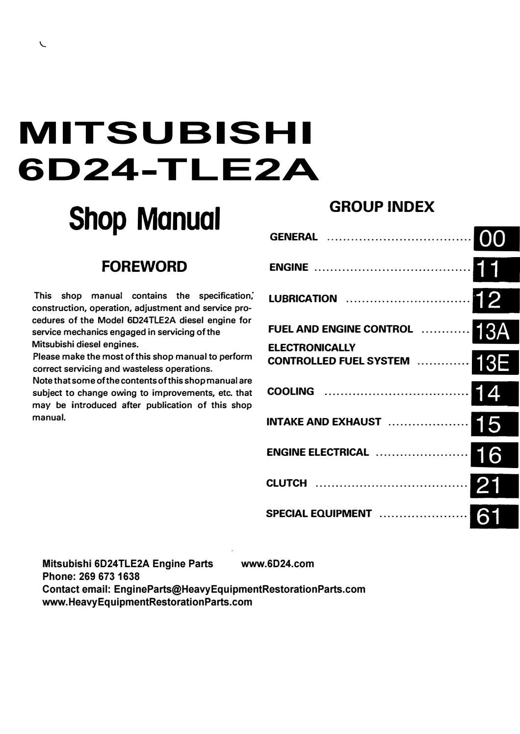 Mitsubishi 6d24tle2a Engine Workshop Manual Copy By Engineparts2 Issuu