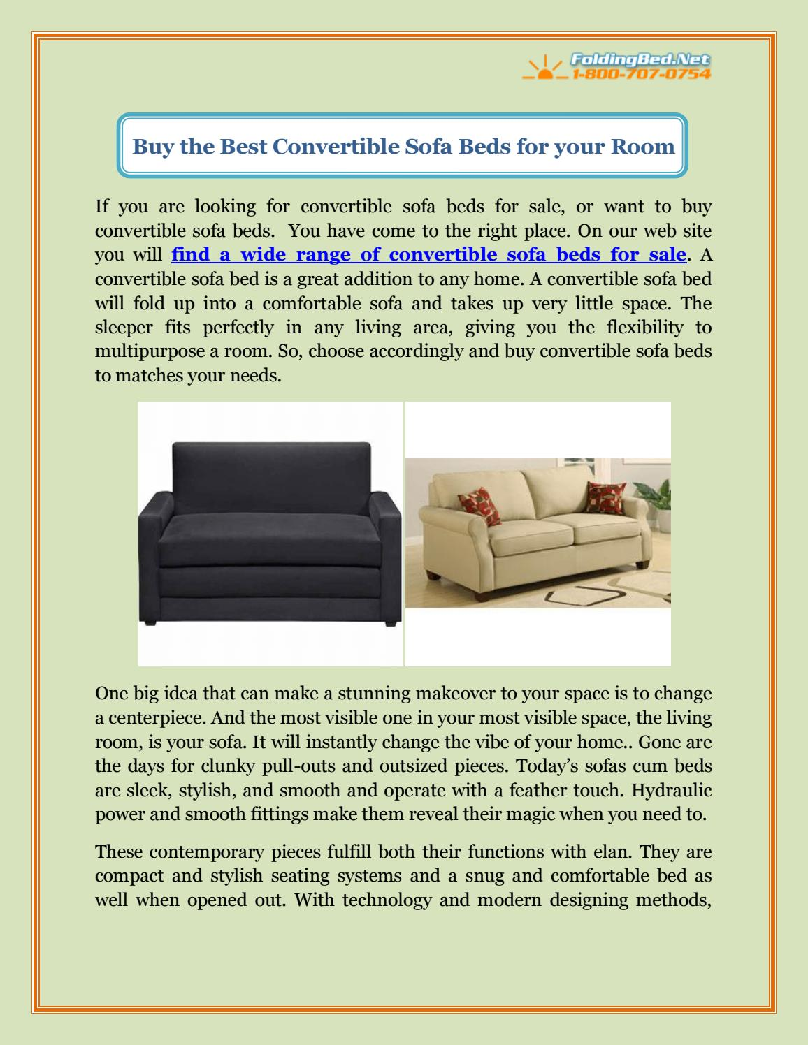 Picture of: Buy The Best Convertible Sofa Beds For Your Room By Foldingbed Net Issuu