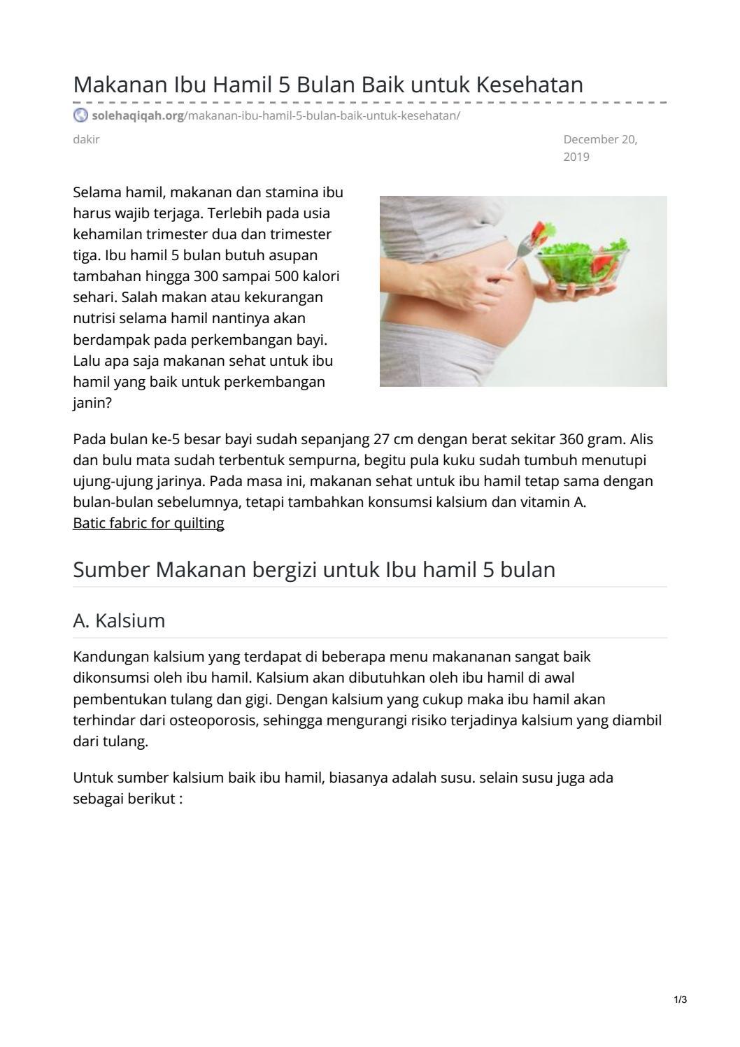 Makanan Ibu Hamil 5 Bulan Baik Untuk Kesehatan By Batik Jito
