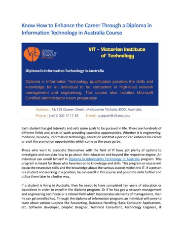 Know How To Enhance The Career Through A Diploma In Information Technology In Australia Course By Vit Edu Issuu